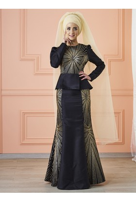 Günaşk Abiye Elbise - Siyah - Mevra