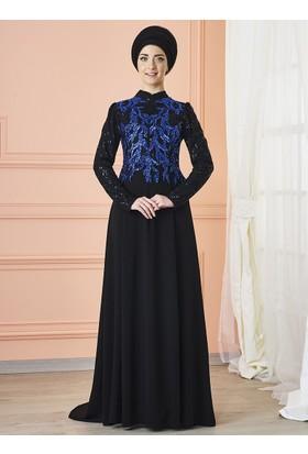 Anka Abiye Elbise - Siyah Saks - Mevra