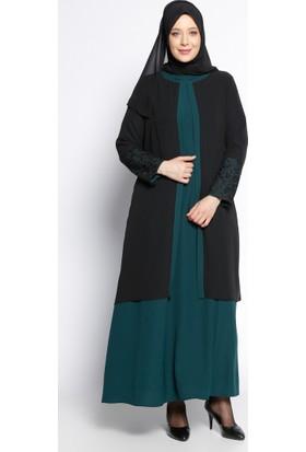 Kolu Dantelli Abiye Elbise - Zümrüt Siyah - Sevilay Giyim