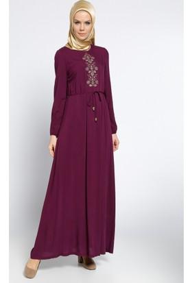 Nakışlı Elbise - Mürdüm - Ginezza