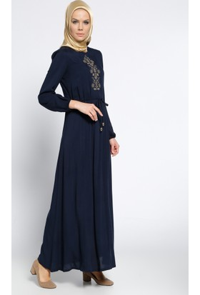 Nakışlı Elbise - Lacivert - Ginezza
