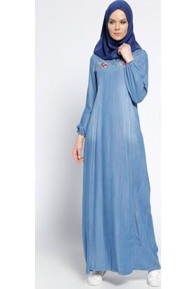 Nakışlı Kot Elbise - Lacivert - Ginezza