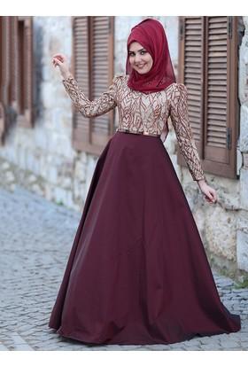 Esra Abiye Elbise - Bordo Gold - SomFashion