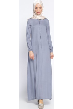 Pile Detaylı Elbise - Gri - Ginezza