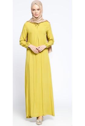 Pile Detaylı Elbise - Yağ Yeşili - Ginezza