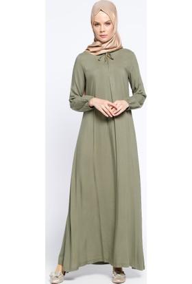 Pile Detaylı Elbise - Açık Haki - Ginezza