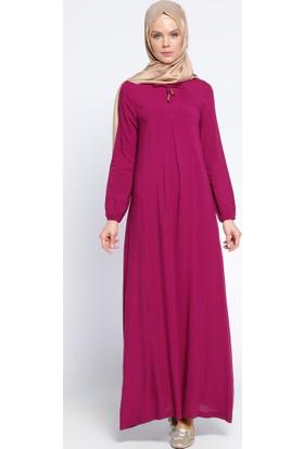 Pile Detaylı Elbise - Fuşya - Ginezza