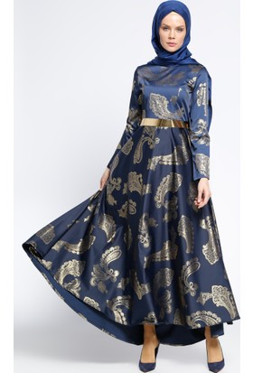 Gold Baskılı Kemerli Elbise - Lacivert - Ginezza