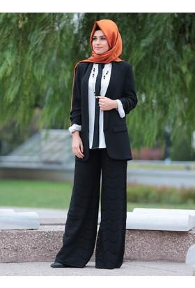 Sude Dantel Pantolon - Siyah - SomFashion