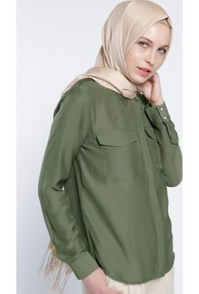 Natürel Kumaşlı Gizli Düğmeli Gömlek - Yeşil - Everyday Basic