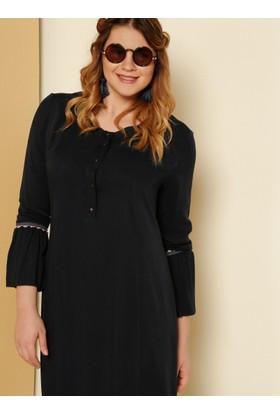 Güpür Detaylı Elbise - Lacivert - Alia