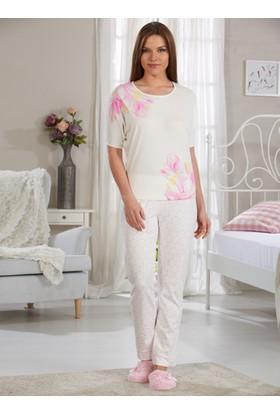 Baskılı Pijama Takımı - Ekru - Sevim