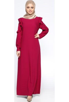 Kolları Volanlı Elbise - Mürdüm - CML Collection