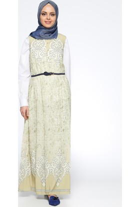 Kemerli Jile Elbise - Yeşil - CML Collection