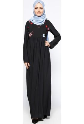 Çiçek Desenli Elbise - Siyah Kırmızı - Tuncay