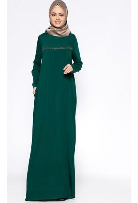 Drop Baskılı Elbise - Yeşil - Ginezza