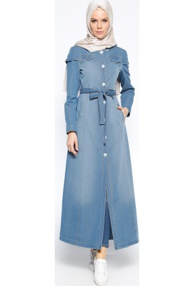 Düğmeli Kot Pardesü - Açık Mavi - Nihan