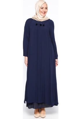Püskül Detaylı Elbise - Lacivert - Hanımsa