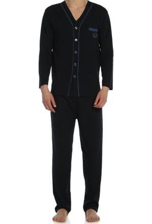 Nur Önden Düğmeli Uzun Kollu Penye Pijama Takımı