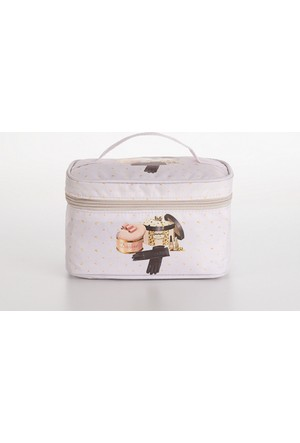Madame Coco Baskılı Makyaj Çantası Kare Mini 21 x 13 x 13 cm - Std
