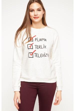 DeFacto Kadın Baskılı Sweatshirt Bej