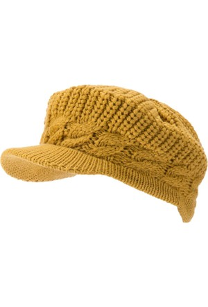 DeFacto Kadın Örgü Desenli Şapka Sarı