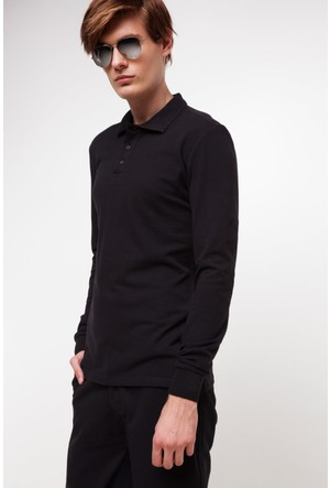 DeFacto Erkek Armalı Polo T-Shirt Siyah