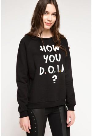 DeFacto Kadın Baskılı Sweatshirt Siyah