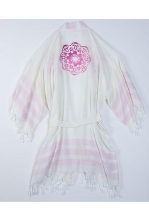 Mumu Kimono Doğal Baskılı Ege Tasarımı Pembe