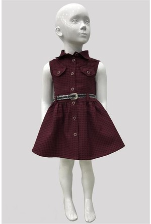 Varol Kids Kareli Kız Çocuk Elbisesi Bordo 1 - 5 Yaş