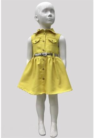 Varol Kids Kareli Kız Çocuk Elbisesi Sarı 1 - 5 Yaş