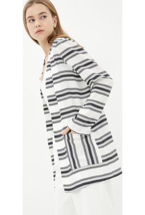 Koton Kadın Çizgili Kimono Lacivert