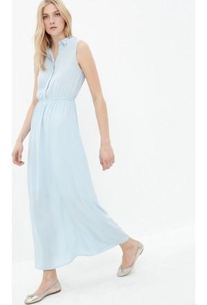 Koton Kadın Yaka Detaylı Elbise Mavi