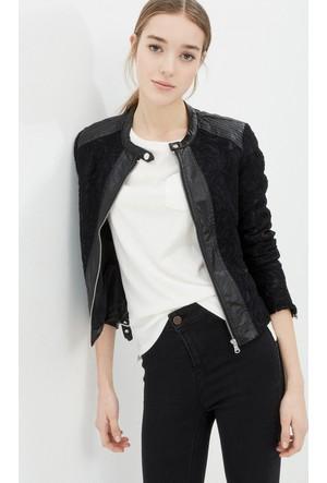 Kadın Deri Detaylı Ceket Siyah