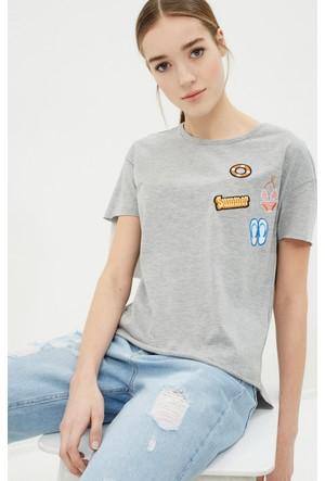 Koton Kadın Baskılı T-Shirt Gri