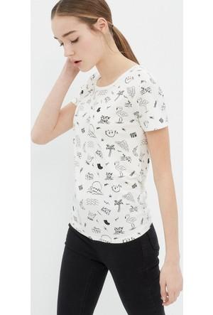 Koton Kadın Desenli T-Shirt Beyaz