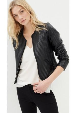 Kadın Deri Görünümlü Ceket Siyah
