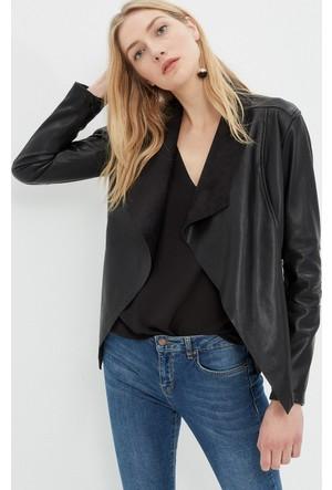 Kadın Deri Görünümlü Biker Ceket Siyah