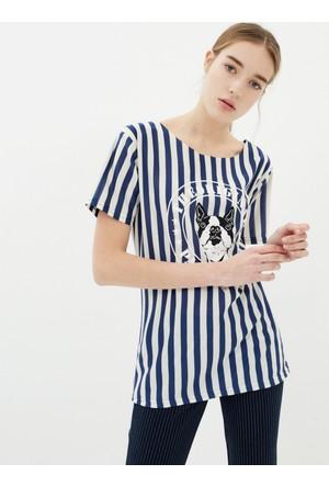 Koton Kadın Baskılı T-Shirt Mavi