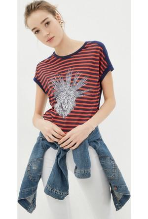 Koton Kadın Baskılı T-Shirt Lacivert