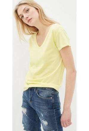 Koton Kadın V Yaka T-Shirt Sarı
