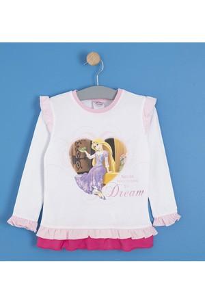 Soobe Disney Princess Uzun Kol Kız Çocuk T-Shirt Beyaz