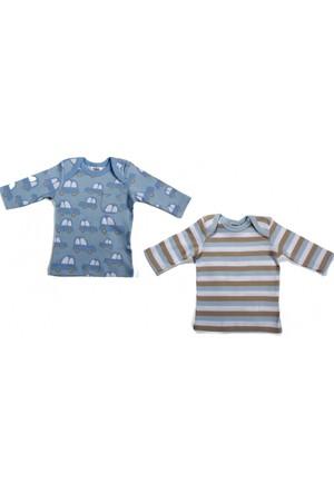 Soobe Blue Cars Erkek Bebek İkili Uzun Kol T-Shirt Set Mavi