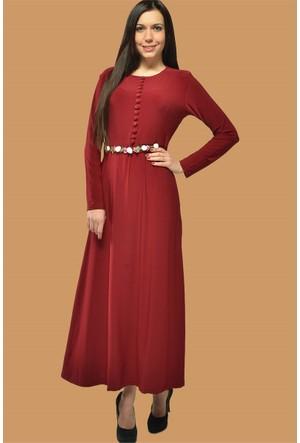 Modamla Kuşaklı Düğmeli Sendy Elbise