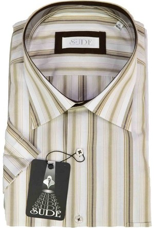 Sude Erkek Gömleği Kısa Kollu Çizgili Cepli