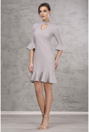 İroni Kol Ve Eteği Volanlı Gri Elbise