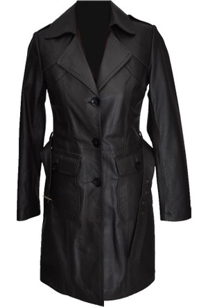 Catsuit Bayan Deri Ceket Siyah - 39B50
