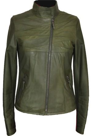 Catsuit Bayan Deri Ceket Yeşil - 39651