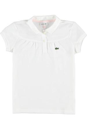 Lacoste Kız Çocuk Düz Polo T-Shirt Beyaz PJ41061
