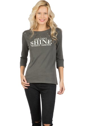 Colin's Antrasit Kadın Uzun Kollu T-Shirt